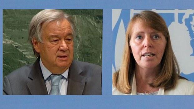 លោក អង់តូនីញ៉ូ ហ្គោទែរ៉េស (Antonio Guterres) អគ្គលេខាធិការអង្គការសហប្រជាជាតិ និងអ្នកស្រី រ៉ូណា ស្មីត (Rhona Smith) អ្នករាយការណ៍ពិសេសអង្គការសហប្រជាជាតិ ទទួលបន្ទុកសិទ្ធិមនុស្សនៅកម្ពុជា។