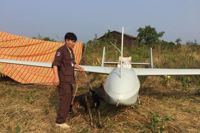 យន្តហោះគ្មានមនុស្សបើក (Drone) ដែលគេប្រទះឃើញ ធ្លាក់ក្នុងខេត្តកោះកុង។