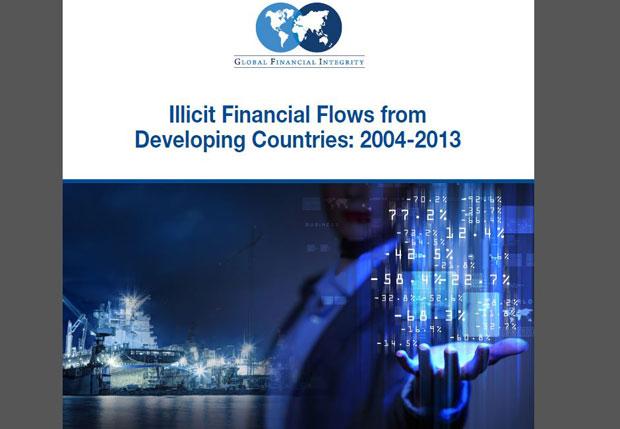 ទំព័រមុខនៃរបាយការណ៍របស់អង្គការសុចរិតភាពហិរញ្ញវត្ថុសកល (Global Financial Integrity) ស្ដីពីលំហូរសាច់ប្រាក់ ពីឆ្នាំ២០០៤ ដល់ឆ្នាំ២០១៣។